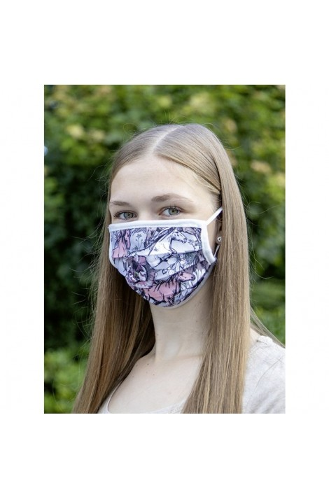 !!! mouth, nose & face mask -printed fabric light grey-
