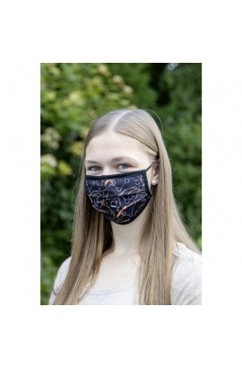 !!! mouth, nose & face mask -printed fabric anthracite-
