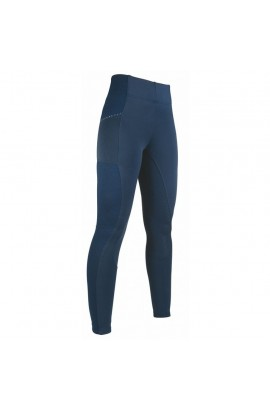 riding leggings with silicone seat -mesh style- deep blue