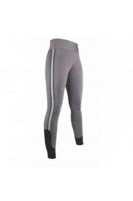 Riding leggings with silicon seat -Silver Stripe- grey