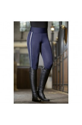 Riding leggings with silicon seat -Silver Stripe- deep blue