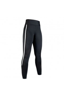 Riding leggings with silicon seat -Silver Stripe- black