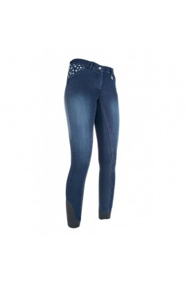 denim breeches with silicone seat -stars & stripes-