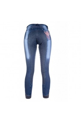 kids denim breeches with silicone seat -USA jeggings kids-