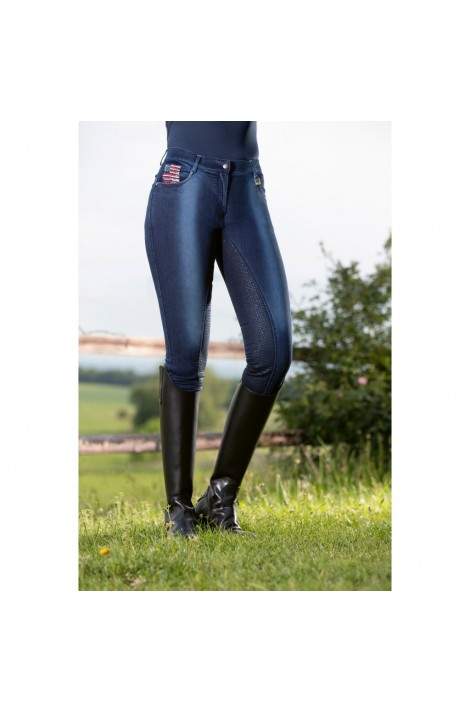 Denim breeches with silicone seat -USA Jeggings-