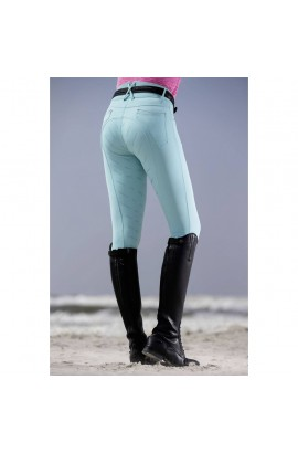 breeches with silicone full seat -rimini eva piping turquoise-
