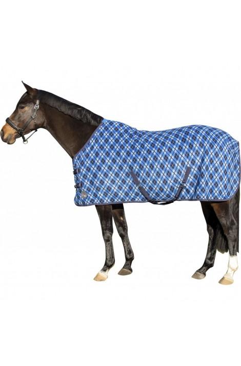 ! checked fleece rug -blue/black/white check-