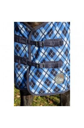 !Checked fleece rug -Blue-