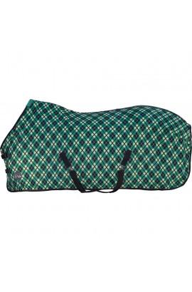 ! Checked fleece rug -Green-