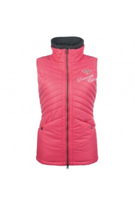 riding vest -diamonds pink star-